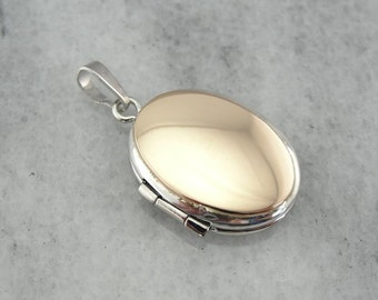 Ready to Engrave, Simple Two Tone Oval Locket JAVV5H-D