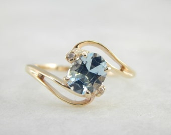 Aquamarine And Gold Airy Bypass Ring 948W23-D