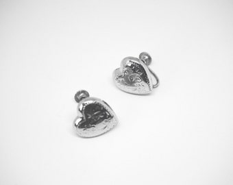Puffy Heart Earrings in 925 Sterling Silver,Signed Rainbow Sterling Jewelry, Vintage Earrings for Non Pierced Ears
