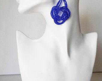 Sparkly blue earrings,seed bead earring,big knots earring,bridesmaid gift,royal blue earring,seed bead earring,statement earring,big earring