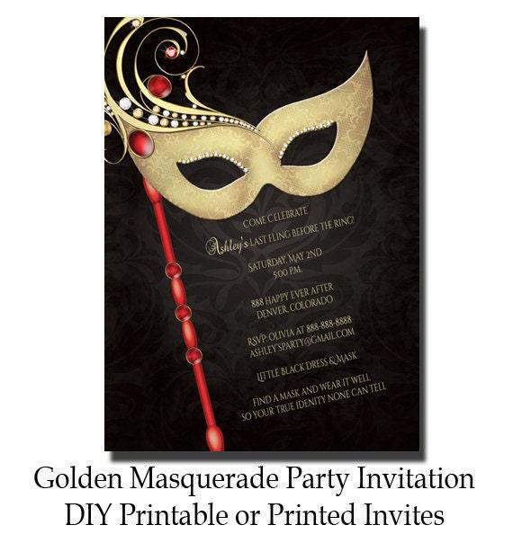 Golden masquerade party invitation masquerade invite bridal for Masquarade invitation