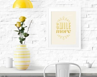 PRINTABLE - Typography Poster, Motivational Poster, Smile Poster, Gold Decor, Office Decor, Black Friday, Digital Download - Smile More