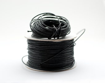 Black Rubber Cord 1 mm Thin Solid Round Rubber Black Cord