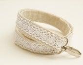 Chic Lace and Natural Cotton/Linen Fabric Lanyard - 1 Inch Wide - Key Lanyard - ID Badge Holder - Key Strap - Teacher Lanyard - Lace Lanyard
