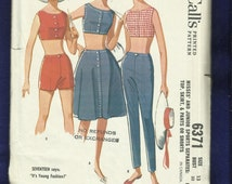 1960's McCalls 6371 Mid Century Beach Outfits Midriff Top Shorts Tapered Pants & Skirt Size 13