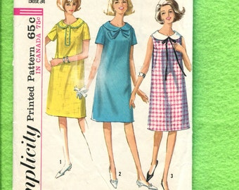 1960's Simplicity 6023 Retro 60's Maternity Dresses with Sweet Round Collar Size 14