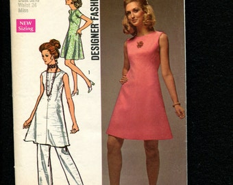 1970's Simplicity 8775 Designer Fashion Mod A-Line Dress or Tunic Size 10