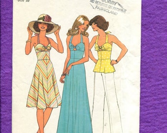 1970's Simplicity 7480 Halter Top Fitted Midriff Dress or Top with Flared Skirt Size 10