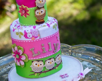 Owl Baby Cake, Receiving Blanket Cake, Owl Diaper Cake
