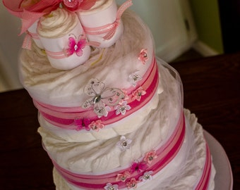It's a Girl Diaper Cake, Baby Shower Diaper Cake, pink and white diaper cake