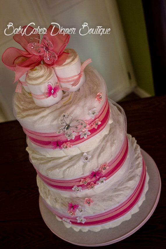 It's a Girl Diaper Cake - Baby Shower Diaper Cake - Pink Diaper Cake - It's a Girl - Baby Shower Cake