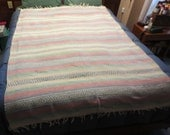 Vintage New Old Stock - Pastel colored stripes, Indian pattern cotton throw - Made in Mexico