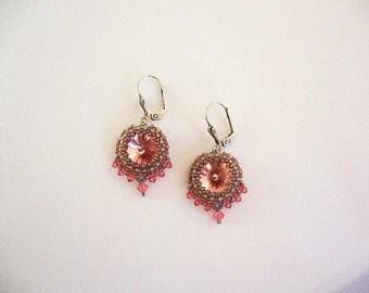 Earrings Crystal pink khaki