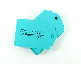 Teal Thank You Tags Set of 20, Merchandise Tags,  Favor Gift Tags, Wish Tree Tags, Teal Wedding Favor Tags, Teal Shower Ideas, Thank You Tag
