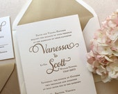 The Garden Rose Suite, Classic Letterpress Wedding Invitation Suite, Gold, White, Formal, Elegant, Traditional, Modern, Calligraphy, Script