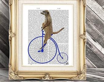 Meerkat On Blue Penny Farthing, Digital Art Illustration Mixed Media Original Print Vintage bicycle Wall art Wall Decor Wall Hanging
