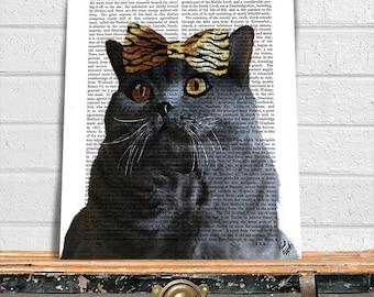 Grey Cat with Leopard Bow, cat poster, cat decor, cat illustration, cat picture, cat gift, cat lover, Cat Print, cat art, wall art