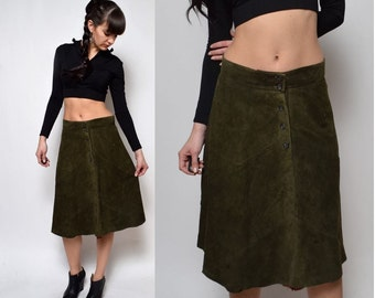 Vintage 90's Calvin Klein Green Moss Suede Leather Skirt