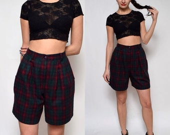Vintage Plaid Wool High Waisted Shorts