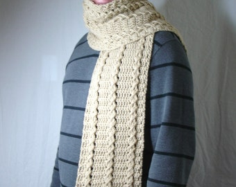 Big and Tall Men's Cream Crochet Cable Scarf