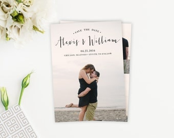 Custom Simple Handwritten Photo Save The Date Card, Postcard, Magnet, Script Font