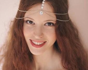 Silver Head Chain, Wedding Head Chain, Rhinestone Headpiece, Head Jewelry Chain, Rhinestone Head Chain