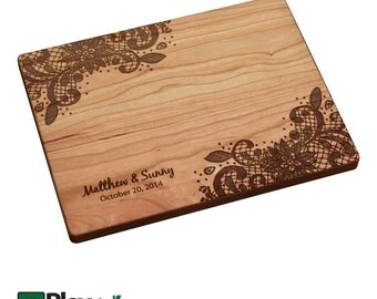 Lace Design Personalized Engraved Cutting Board, Personalized Gift, Wedding Gift,Bamboo,Custom Cutting Board, Wedding Gifts