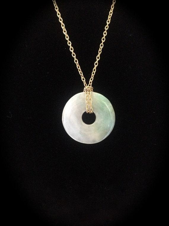 vintage jade donut ring pendant