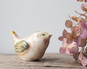 Vintage Bird Figurine - Yellow Bird, Spring Bird, Woodland Home Decor