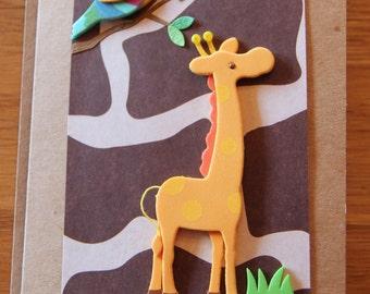 Handmade Cards, Handmade Birthday Cards, Safari Card, Giraffe Card