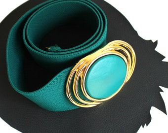 Teal & Gold Vintage Elastic Belt
