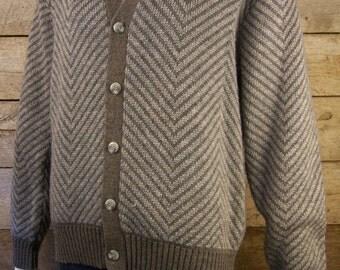 Grey Herringbone Patterned Sweater // 1950s College Jumper Pullover
