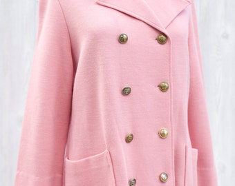 Vintage 1980s Kappannl Pale Pink Knit DoubleBreasted Blazer with Gold Buttons and Patch Pockets