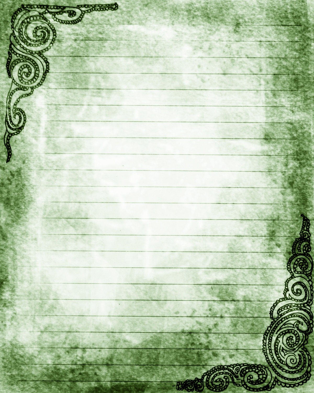 Wallpaper Lined Paper: Printable Journal Page Swirls Green Lined Stationery 8 X 10