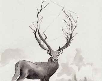 Deer in the fog/ ORIGINAL ink illustration/ 21 x 17 cm