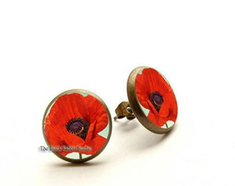 Red poppy Stud Earrings, Poppy Jewelry, Red Earrings, Flower Earring, Flower Jewelry,Romantic Earrings