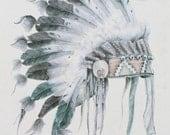Native American Art Print - Tribal Decor, Boho Chic, Original Artwork, Bohemian Decor, Tribal Art Print, Bohemian, Archival Print, Wall Art