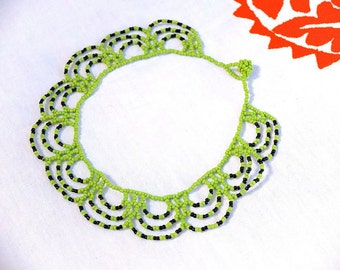 African collar necklace / seed beads / green and black / spring accessory