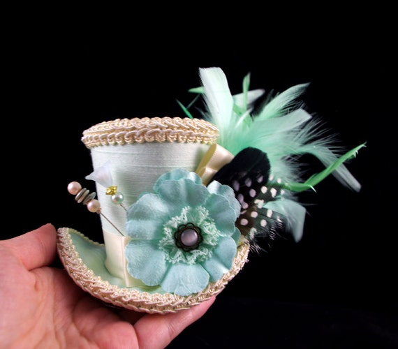Mint and Cream Paper Flower Small Mini Top Hat Fascinator, Alice in Wonderland, Mad Hatter Tea Party, Derby Hat