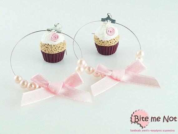 Autumn Romantic Cupcakes in Hoops, Cupcake Earrings, Cupcake Jewelry, Mini Cupcakes, Food Jewelry