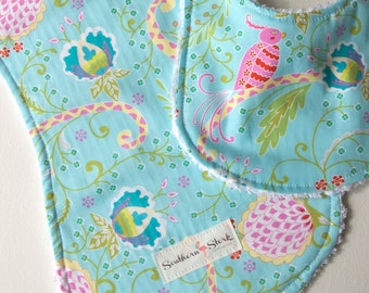 Bib and Burp Cloth Set - Birds of Paradise