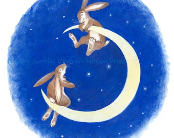 A Pair of Hares on the Moon... Sweet greeting card, blank inside for personal message.