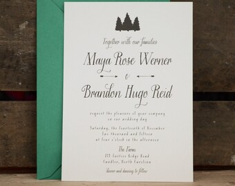 Wedding Invitation, Tree Wedding invitation, Rustic Wedding Invitation, Woodland Wedding Invitation, eco friendly wedding, trees - The Maya