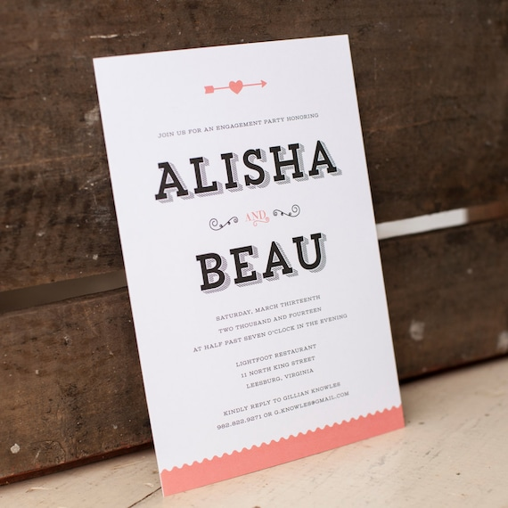 Rustic Engagement Party Invite, bridal shower invitation - The Alisha - Rustic, modern, typography, arrows, heart, couples shower, party