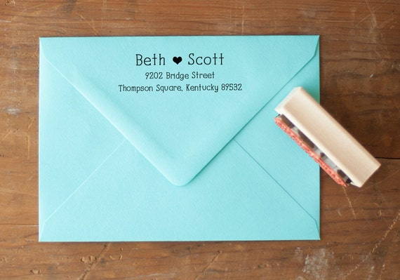 Wedding Invite Stamp: Wedding Invitation Stamp Custom Return Address Stamp Wood