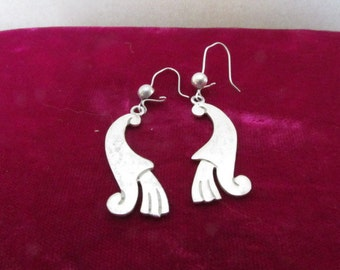Vintage Sterling Silver Hook Earrings, Marked Mexico CR-20, Stylized Animal, Collectible Jewelry