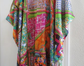 Hermes Print 100% Silk Caftan,  Silk Tunic,  Silk Kaftan,  Womens Silk Dress,  Coverup,  Silk Blouse