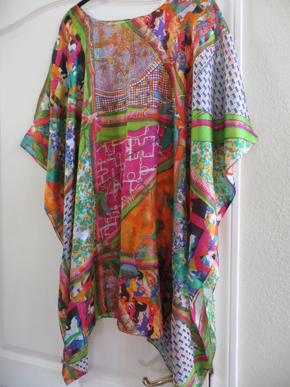 Hermes Print 100 Silk Caftan Silk Tunic Silk Kaftan