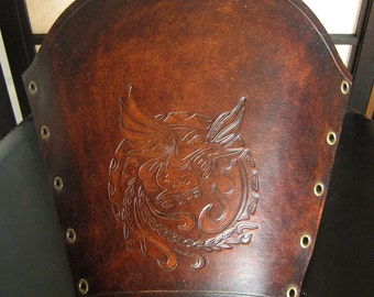 Medieval Armor Larp Bird of Liberty Stamp Leather Bracer ** SPECIAL LAST ONE **