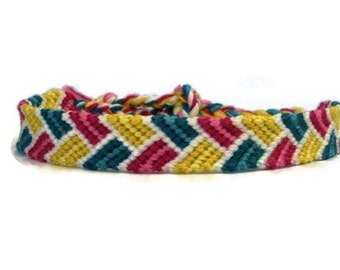 Pink, Yellow, Teal and White Bordered Braid Pattern Embroidery Macrame Friendship Bracelet, Spring Friendship Bracelet